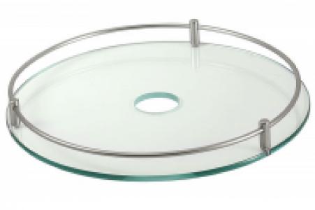 640 Хром - Полка стеклянная с релингом 350 мм