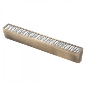 7070 Ручка скоба с кристаллами 128 мм бронза