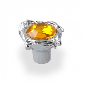 7085 Ручка кнопка с желтым камнем 96 мм хром