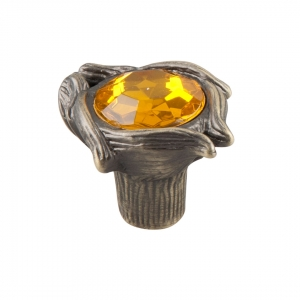 7087 Ручка кнопка с желтым камнем 96 мм бронза